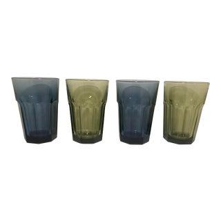 1980s Vintage Green & Blue Libby Tallboy Tumbler Glasses - Set of 4 For Sale