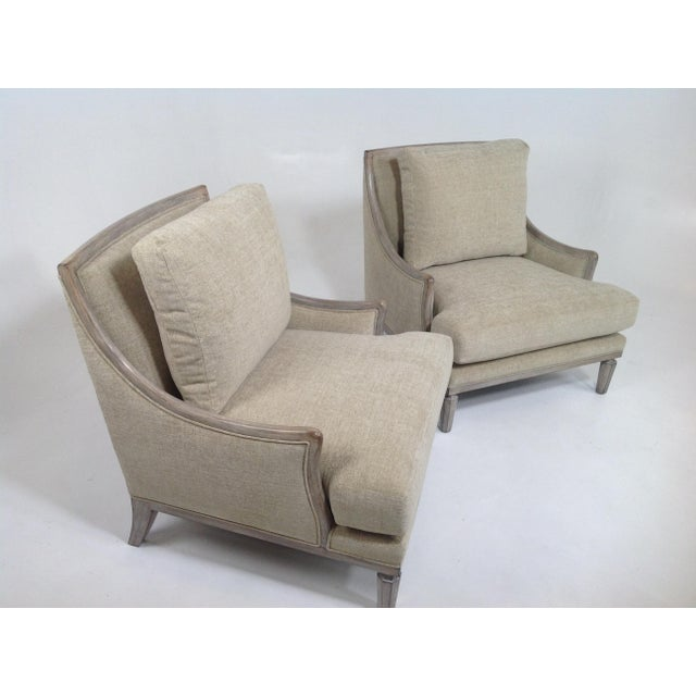 Tan Chenille Ceruse Gray Lounge Chairs - A Pair For Sale - Image 8 of 9
