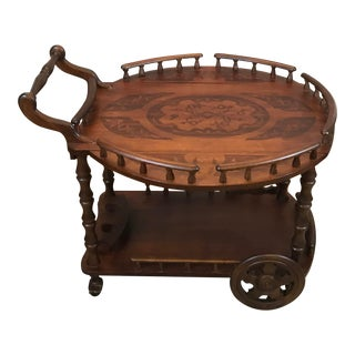 French Style Walnut Trolly Cart For Sale