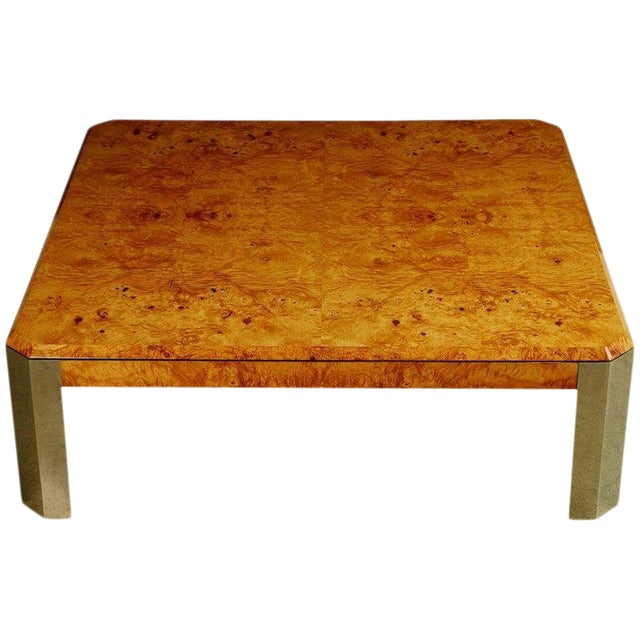 Leon Rosen for the Pace Collection Burled Wood Large Coffee Table For Sale
