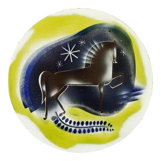 1930s Enamel on Metal Horse in the Midnight Sky by Edward Winter (1908-1976, Usa) For Sale