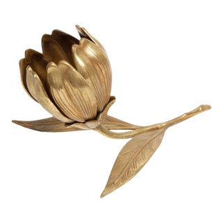 Vintage Mid-Century Modern Brass Flower Ash Receiver With Removable Petals For Sale
