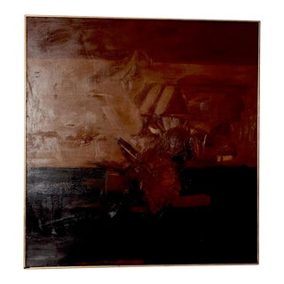 Vintage Mid Modern Abstract Oil Painting C.1970 For Sale