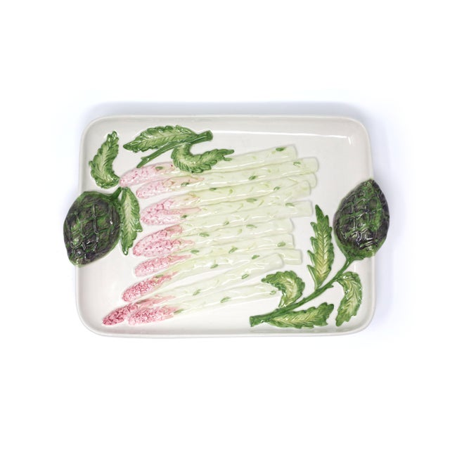 1980s Vintage Ceramic Asparagus and Artichoke Tray For Sale - Image 5 of 10