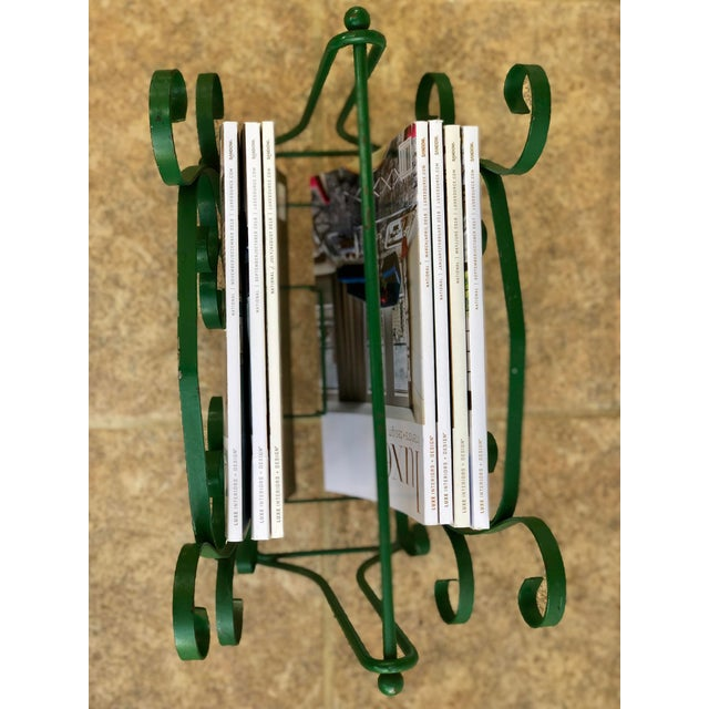 Green Mid-Century Modern Green Wrought Iron Magazine Rack For Sale - Image 8 of 10