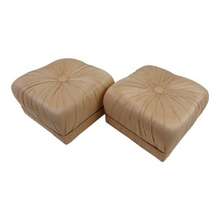 Pair of Hollywood Glam Poufs on Casters 1970s