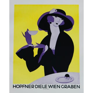 1923 Austrian Art Deco Poster, Hopfner Diele Wien Graben - Coffee Poster For Sale