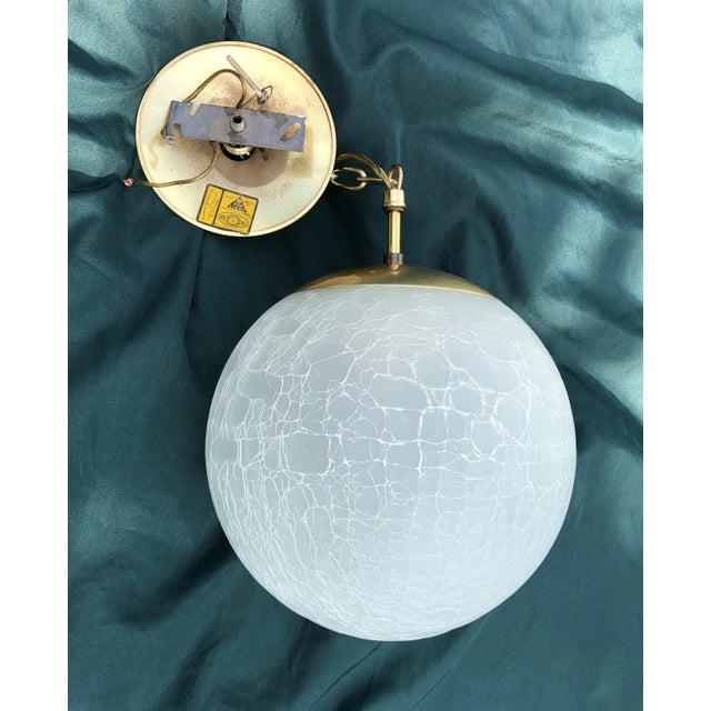 Mid-Century Modern Vintage Moe Light Crackled Etched Glass Pendant Globe Light For Sale - Image 3 of 8