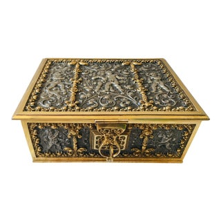 Early 20th Century Polished Steel and Brass German Dresser Box For Sale