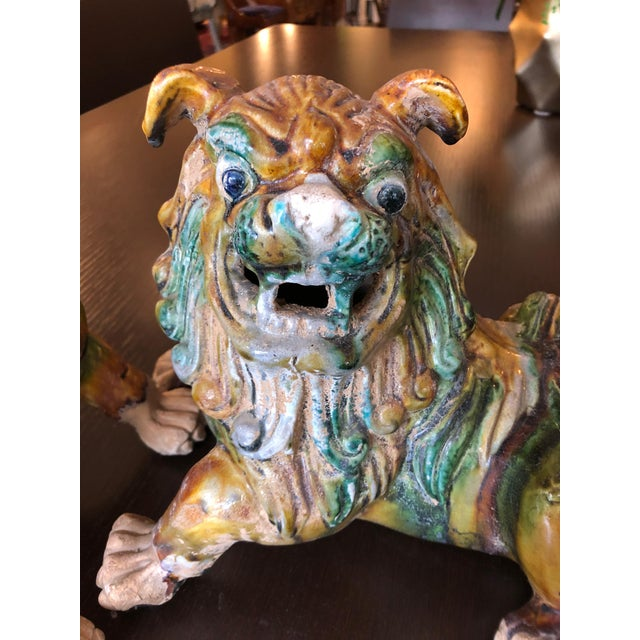 Green 1950s Chinese Eye Catching Vintage Foo Dog Sculptures - a Pair For Sale - Image 8 of 13