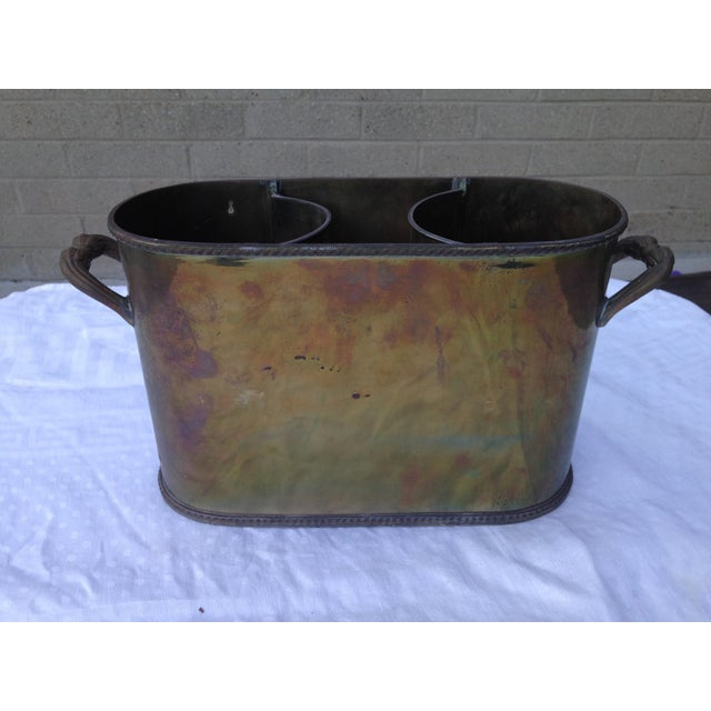 Mid 20th Century Brass Dual Wine Chiller For Sale - Image 5 of 5