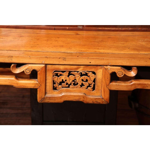 Chinese, 19th Century, Natural Elm Antique Console Table with Carved Decor For Sale - Image 9 of 11