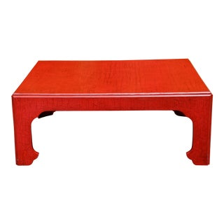 1960s Baker Furniture Far East Collection Celadon Craquelure Red Coffee Table For Sale