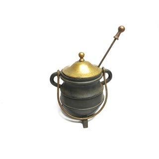 Antique Very Heavy and Substantial Cast Iron Fire Starter Cauldron Pot Kettle With Pumice Wand Preview