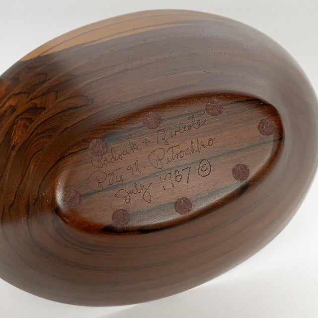 Peter Petrochko Carved Padauk and Ziricote Wood Bowl For Sale - Image 12 of 13