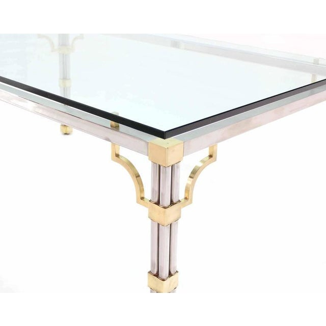 Fine Glass Top Rectangle Chrome Brass Dining Conference Table DECASO - Glass conference table for sale