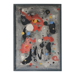1950s Signed Colorful Modernist Abstract Painting For Sale