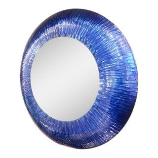 Blue Enamel Wall Mirror For Sale