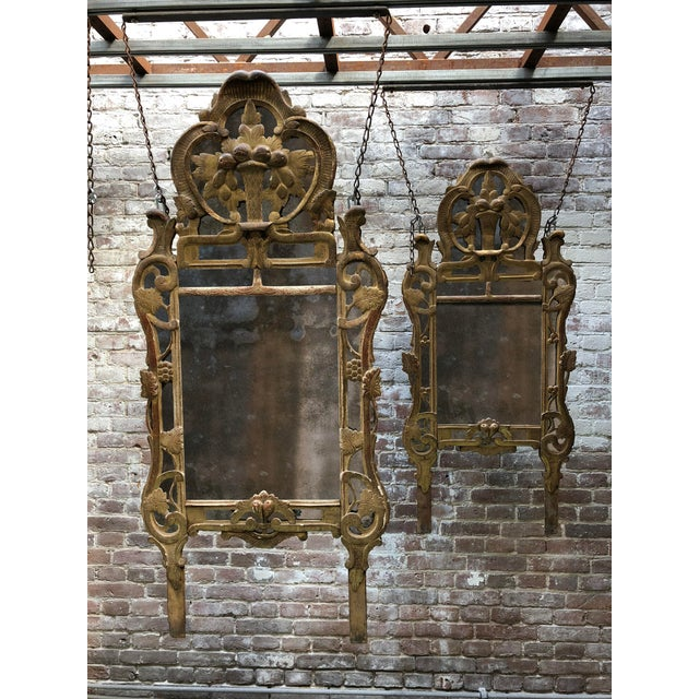 French Provincial 18th Century Louis XV Carved Gilt Wood Mirrors, Exceptionnel Set of Three. For Sale - Image 3 of 13