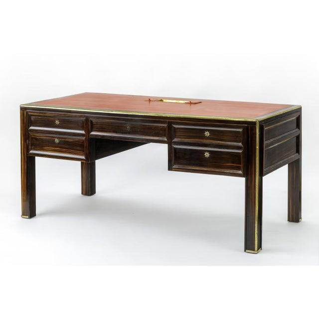 Mid-Century Modern Jacques Adnet Documented Presidential Makassar & Gold Bronze Accent Desk For Sale - Image 3 of 7