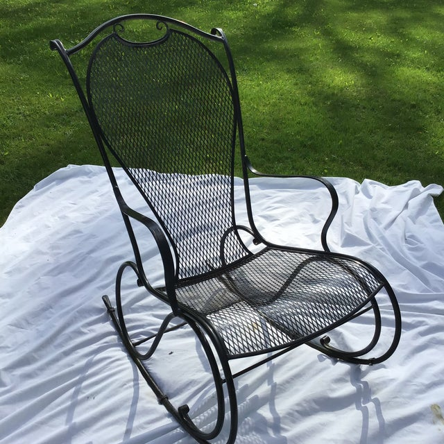 Russell Woodard Wrought Iron Rocking Chair For Sale - Image 9 of 11