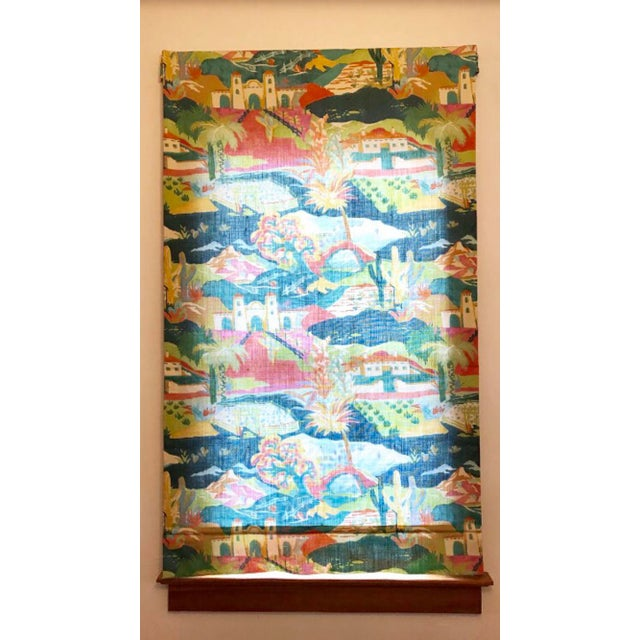 Textile Multicolored Mexican Scene Pattern Roman Shade For Sale - Image 7 of 10