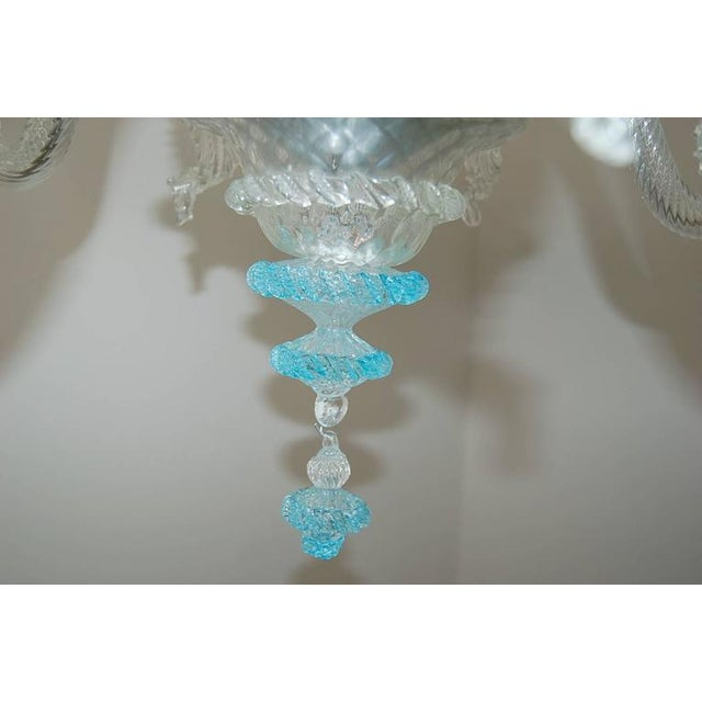 1940s Chandelier Vintage Murano Glass Clear Blue For Sale - Image 5 of 10