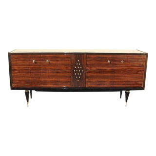 French Art Deco Macassar Sideboard With Diamond Mother-Of-Pearl Center Circa 1940s