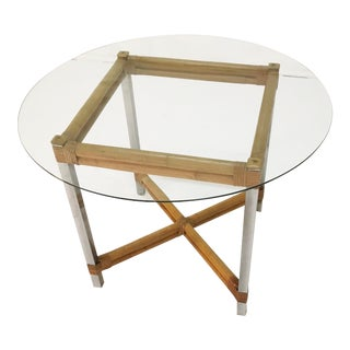 Wrapped Rattan Bamboo & Chrome Side Table For Sale