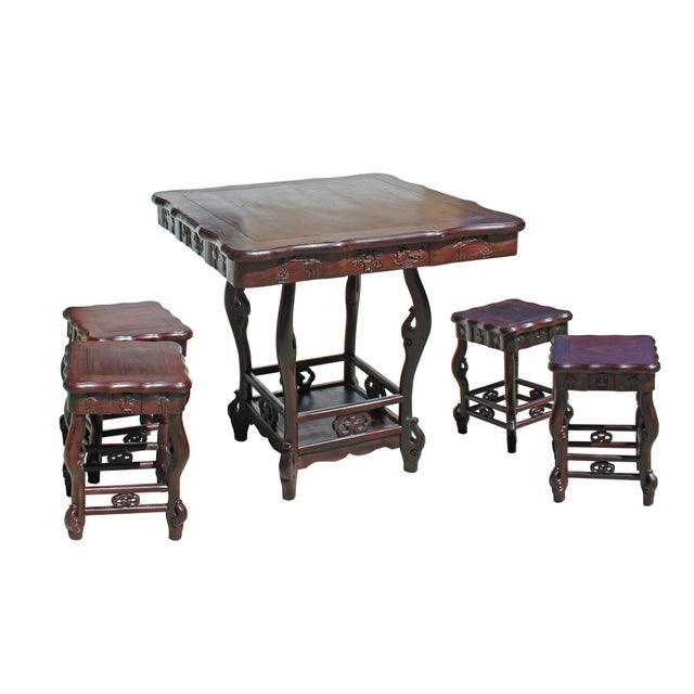 Rosewood Chinese Dark Brown Huali Rosewood Square Table Chair 5 Pieces Set For Sale - Image 7 of 8