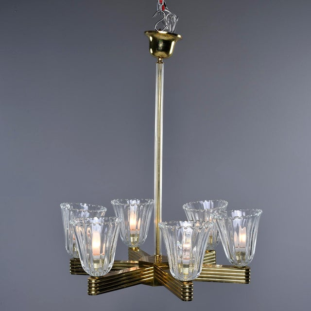 Barovier & Toso Ercole Barovier and Toso Six Light Brass Chandeliers - a Pair For Sale - Image 4 of 13
