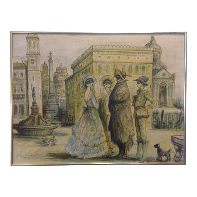 1977 Masquerade a Venice Litho Print by Jacques Lalande - Image 1 of 7