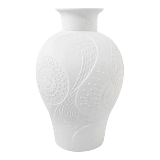 Art Deco White Bisque Vase with Stylized Floral Design For Sale - Image 4 of 6