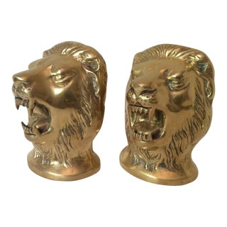 Vintage Polished Brass Mid Century Hollywood Regency Loin's Head Bookends For Sale