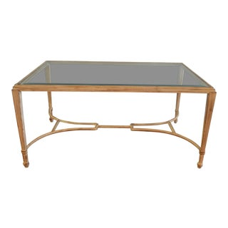 Classic and Modern Painted Coffee Table With Beveled Glass Top For Sale