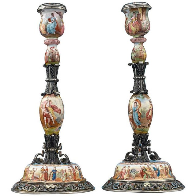 19th Century Viennese Enamel Candlesticks - A Pair For Sale - Image 4 of 4