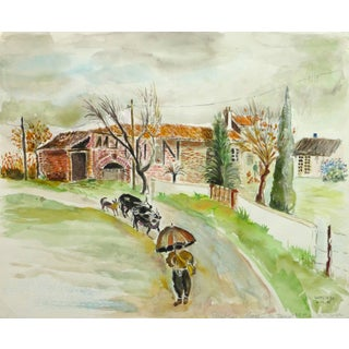 French Watercolor Landscape - the Farmstead For Sale