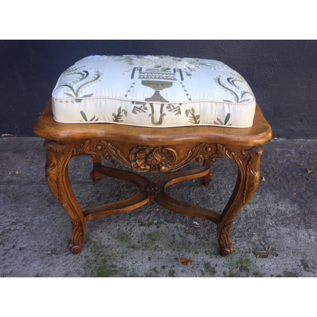 Vintage Walnut French Provincial Bench With Embroidered Upholstery