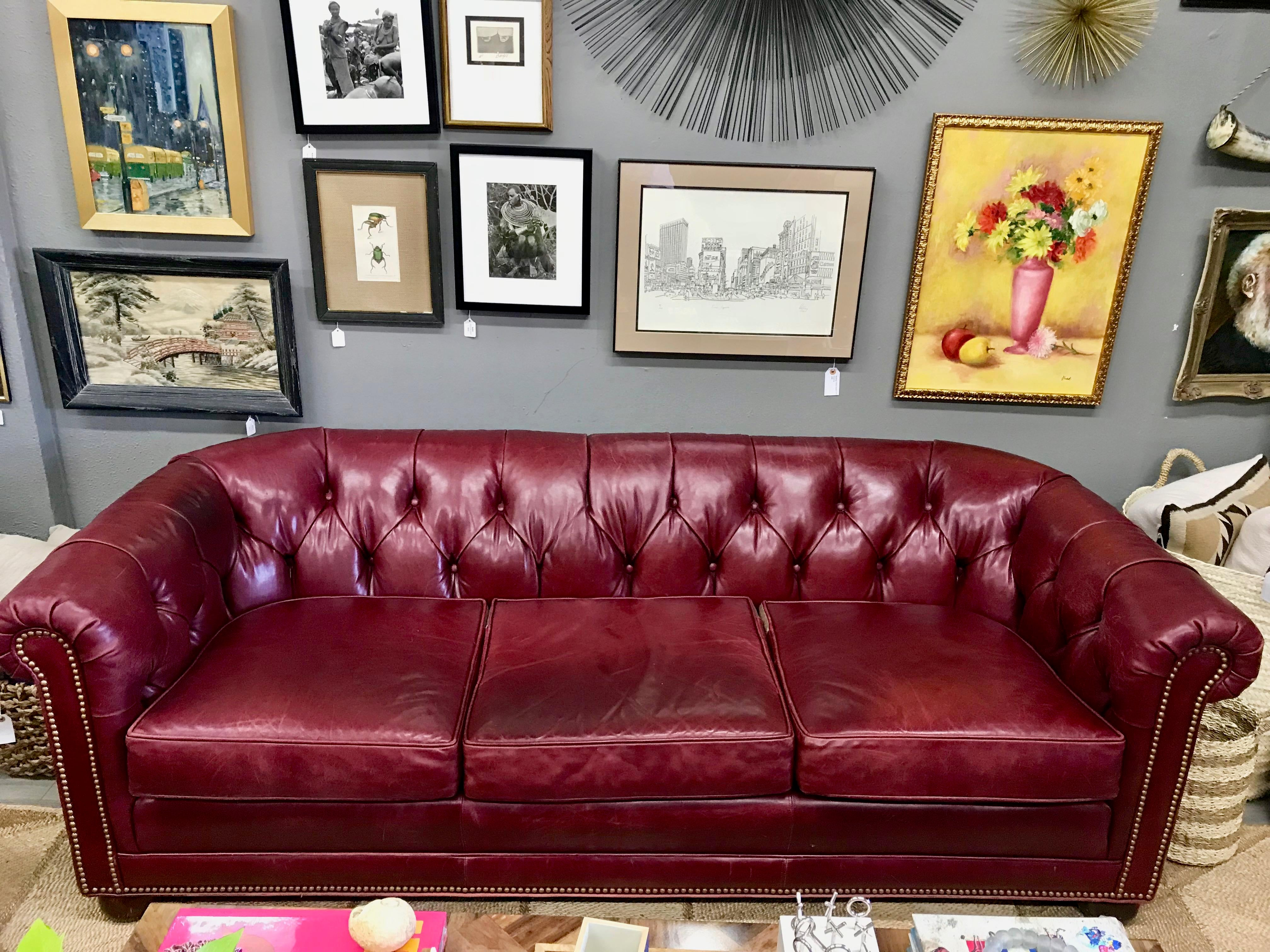 20th Century English Traditional Oxblood Ruby Red Chesterfield