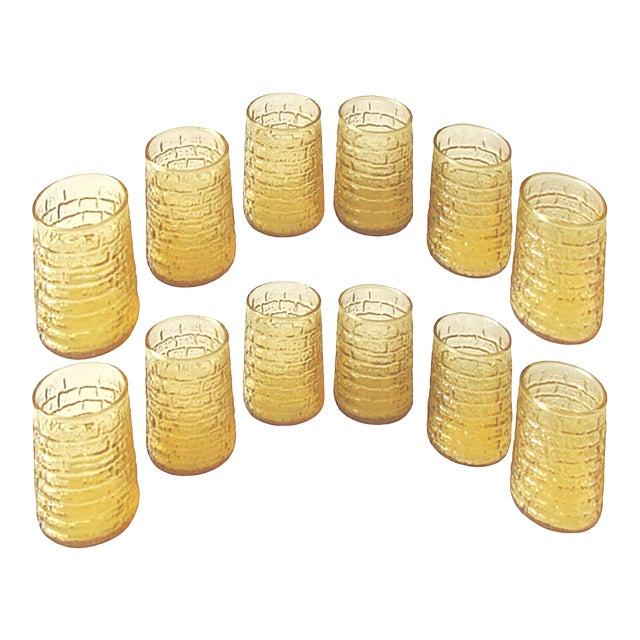 Mid-Century Faux Bamboo Juice Glasses C.1960, Set of 12 For Sale