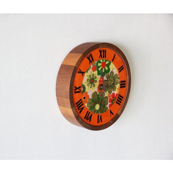 Italian Pottery & Teak Wall Clock - Image 4 of 4