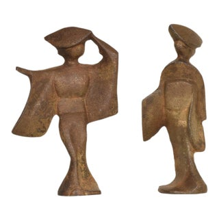 Mid-Century Modern Cast Iron Japanese Dancers Paper Weights - a Pair For Sale