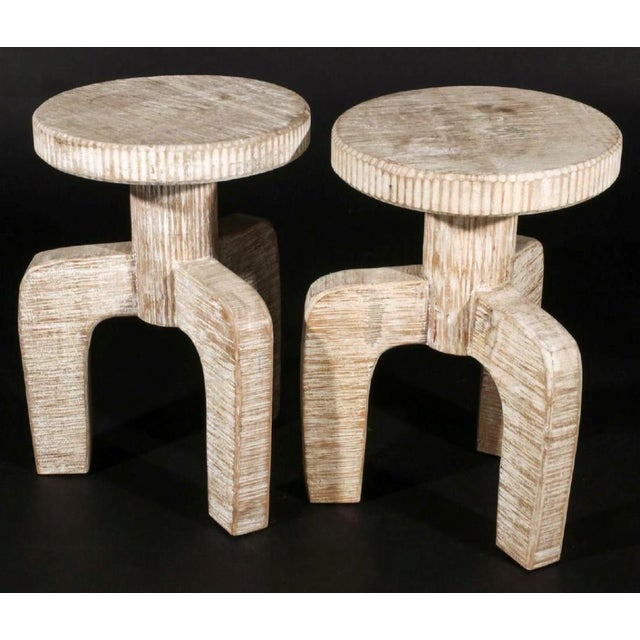 1980s African Inspired Tribal Cerused Stools - a Pair For Sale - Image 5 of 6