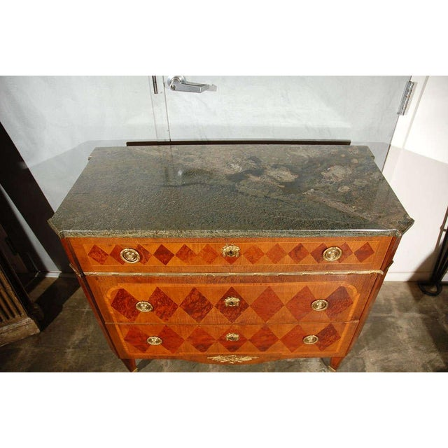 Swedish Marble Top Marquetry Commode For Sale - Image 4 of 5