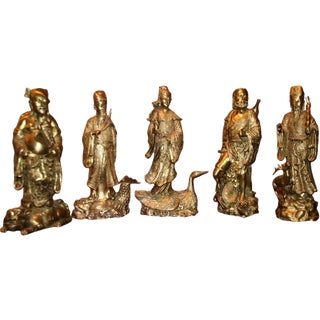 Chinese Tao Gods in Gilded Bronze - Set of 5 For Sale