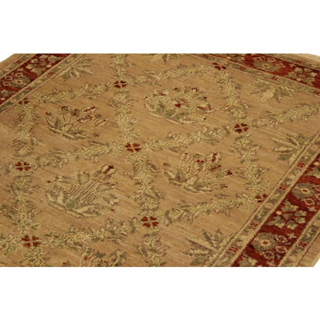 Kafkaz Peshawar Fatima Tan/Rust Hand-Knotted Rug - 4'1 X 5'9 For Sale - Image 4 of 8