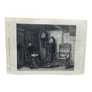 "Mid 19th Century Antique The Illustrated London News ""Widowed and Childless"" Print For Sale"