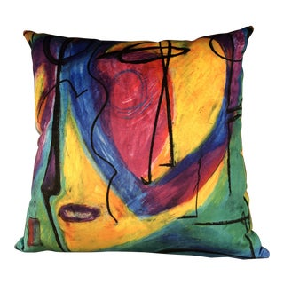 "Modern Handmade ""Bruce Mishell"" Print Velvet Pillow For Sale"