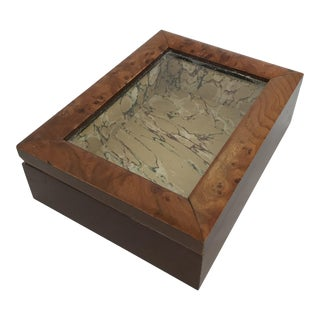 Lined Burl Wood Display Box With Lid For Sale