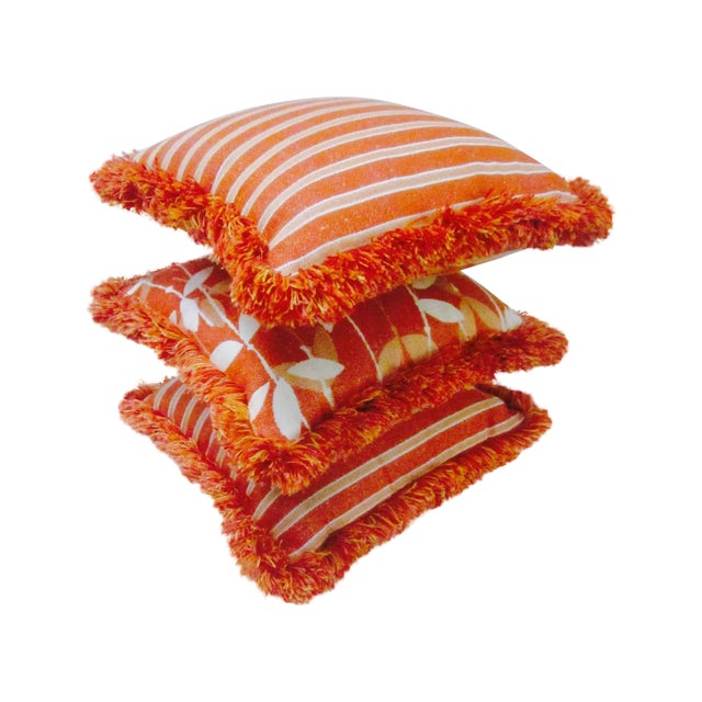 Boho Chic Moroccan Bohemian Orange Pillows & Placemats - Set of 9 For Sale - Image 3 of 11